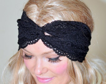Turban Headband Black Lace Turban Black Turban Headwrap Lace Headband Fashion Girly Romantic Mothers Day gift under 25