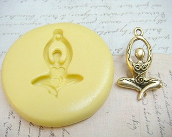 MEDITATION GODDESS (with bail) - Flexible Silicone Mold - Push Mold, Polymer Clay Mold, Pmc Mold, Crafting Mold, Resin Mold