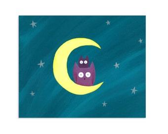 Whimsical Owls and Moon Print - Owl, Moon, & Stars Art