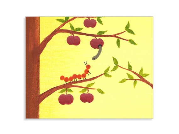 Woodland Nursery Art - Caterpillar and Worm Print - Forest Print
