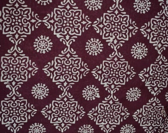 Bagh print  Indian summer cotton fabric  in  Geometric pattern - One yard