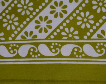 Indian Summer Pure Cotton Fabric with floral design in diagnal stripes - One yard