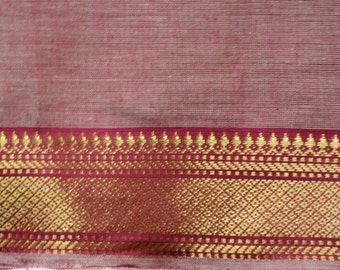 Handloom cotton fabric in Pink and Red - One yard Yard  VMC 17