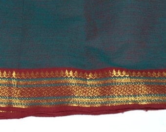Handloom cotton fabric in Teal and Red -  VMC 19 A