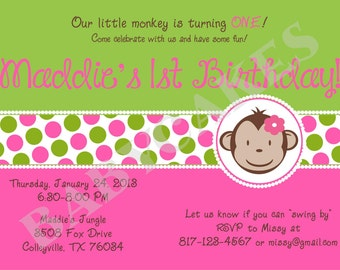 Mod Monkey Birthday Invitation girl -  DIY Print your own - matching party printables available