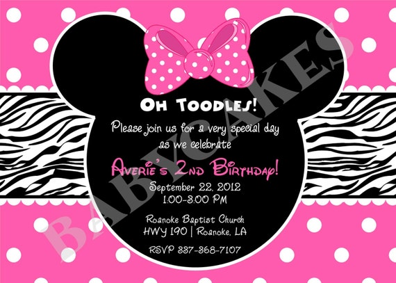 Minnie Mouse Zebra Print Birthday Invitation DIY by jcbabycakes