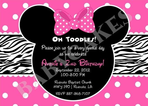 Minnie Mouse Zebra Print Birthday Invitation DIY by jcbabycakes