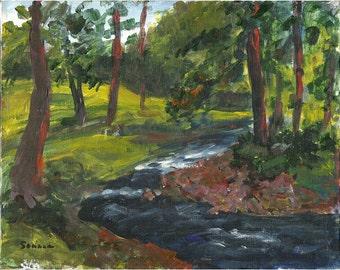 Raritan River 8x10 Original acrylic landscape painting