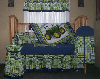 10 Piece John Deere Navy And Green Patchwork Plaid Baby Quilt Set, Nursery Set  4