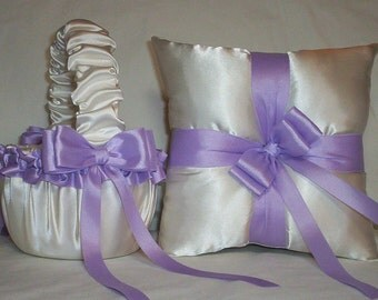 Ivory Cream Satin With Lavender Ribbon Trim Flower Girl Basket And Ring Bearer Pillow