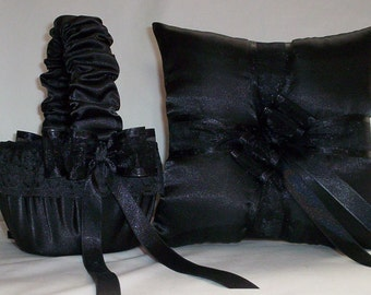 Black Satin With Black Trim  Flower Girl Basket And Ring Bearer Pillow