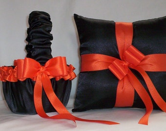 Black Satin With Orange Ribbon Trim flower girl basket and ring bearer pillow