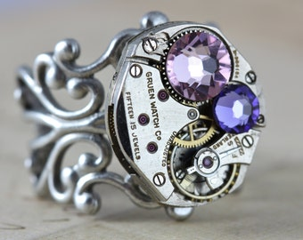 Steampunk Ring Statement Ring Purple Ring Retro Vintage Watch Ring Steam Punk Jewelry Tanzanite Light Amethyst from Inspired by Elizabeth