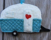 Camper Love - recycled felted wool - rear-view mirror ornament, gift tag, tree ornament, decoration