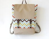 BEIGE. Multicolor chevron  Backpack, laptop bag, diaper bag, school bag with leather closure and 2 front pockets, Design by BagyBags