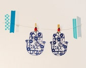 Small size hamsa shape paper cut  -Peace in 3  languages Hebrew, Arabic and English