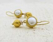 24k Gold Earrings , Fine Gold Jewelry , Wedding Pearls Earrings
