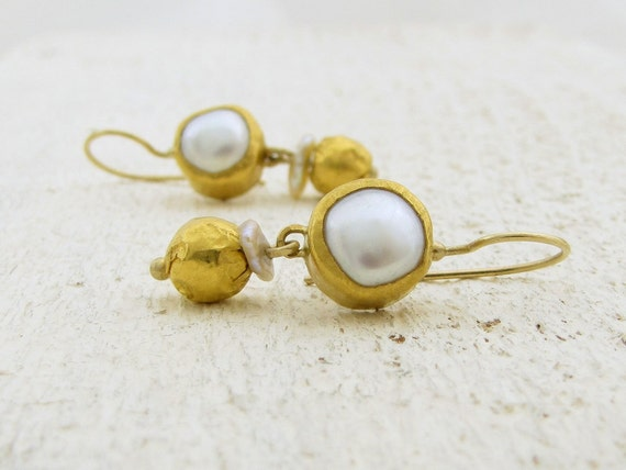 24k Gold Earrings , Fine Gold Jewelry , Wedding Pearls Earrings