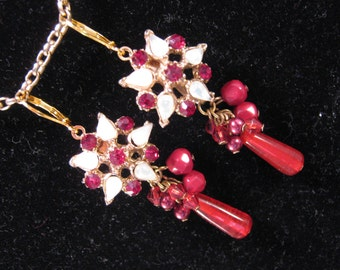 Reclaimed Vintage Earrings, Upcycled, Reclaimed, Bridesmaid Gift, Glamorous, Gold, Red, Rhinestone, OOAK, Pierced - Ruby and Opal
