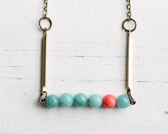 Turquoise Coral Necklace ... Aqua Pink Vintage Industrial Brass with Delicate Chalcedony