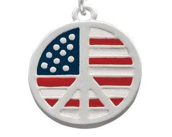 Silver Plated, Enameled, USA Patriotic Peace Sign Charm, Qty.1