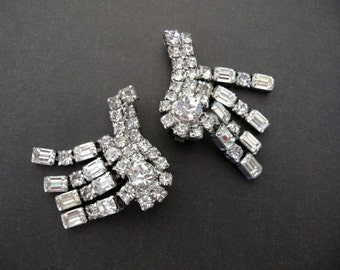Vintage LA REL Earrings - La Rel Clear Rhinestone Climber Earrings - Wedding Bridal Bridesmaid