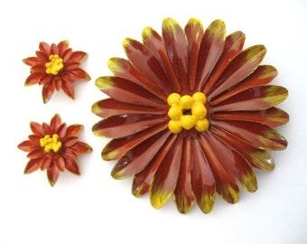 Vintage Enamel Brooch and Earring Set Floral