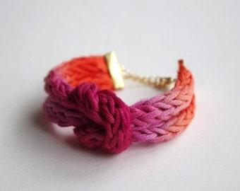Hand Dyed Ombre Knit Knot Bracelet - Burgundy & Orange