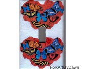 Heart Light Switch Cover Valentine's Day Painting Butterfly Roses