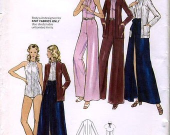 Butterick 6896 Vintage 70s Misses' Cardigan, Skirt, Pants and Bodysuit Sewing Pattern - Uncut - Size 8 - Bust 31.5