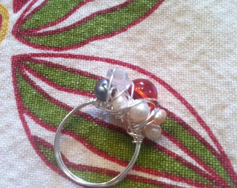 Gypsy Ring - Red glass, freshwater pearl, rose quartz silver wire-wrapped ring