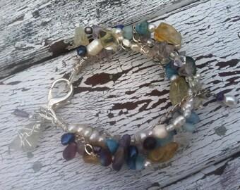 Mermaid's Treasure - beaded amethyst, aquamarine, citrine, turquoise, freshwater pearl, glass assemblage bracelet with seaglass charm