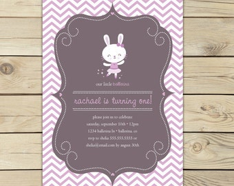 Ballerina Birthday Invitation Printable - bunny 1st birthday - ballerina birthday party - ballerina baby shower invitation - tutu birthday