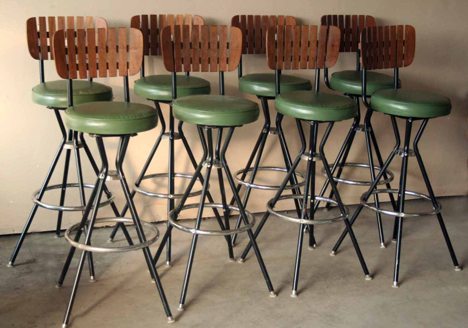 Retro Green And Wooden Bar Stool Slat Back Mid Century
