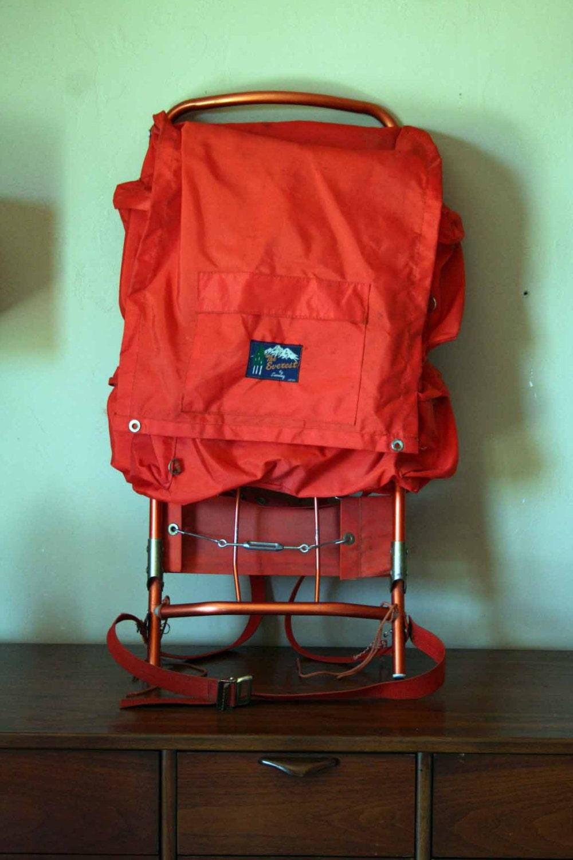 Vintage Orange Hiking Backpack The Everest by Seaway.