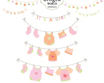 Baby laundry line clip art, baby girl announcement, Baby shower card, CU  (CA228)