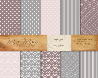 INSTANT DOWNLOAD - Digital Papers Scrapbooking Backgrounds Pink, Purple, Stripes, Circles, Polka Dots, Swiss Dots Baby Printable 12x12 jpg
