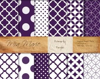 INSTANT DOWNLOAD - Digital Papers Scrapbooking Backgrounds Purple, Quatrefoil, Chevron, Swiss Dots, Polka Dots Printable 12x12 jpg