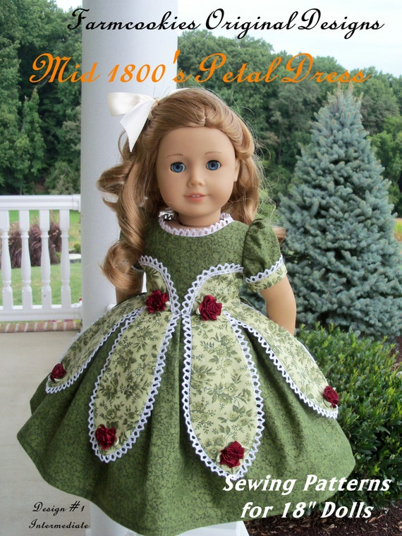 "Printed Pattern for American Girl Marie Grace or Cecile 1850's Petal Gown / Sewing Pattern for 18"" Dolls"