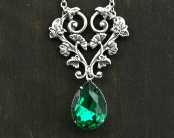 Emerald Necklace with Twisted Vine and Teardrop Crystal