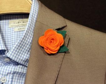 Orange wool felt rose boutonniere, mens lapel flower