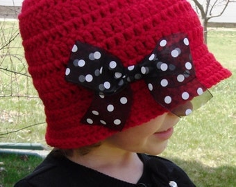 Crochet Cloche Hat with Polka Dot Bow--Any Size--Made to Order
