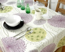 Tablecloth Dandelion Flowers Rectangle Square Round Dinner,Party,Wedding--Eco Friendly Cotton Custom Size, Runner,Pillow case Cushion