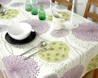 Tablecloth Dandelion Flowers Rectangle Square Round Dinner,Party,Wedding,Baby Shower--Cotton Custom Runner,Pillow case Cushion,GET FREE GIFT