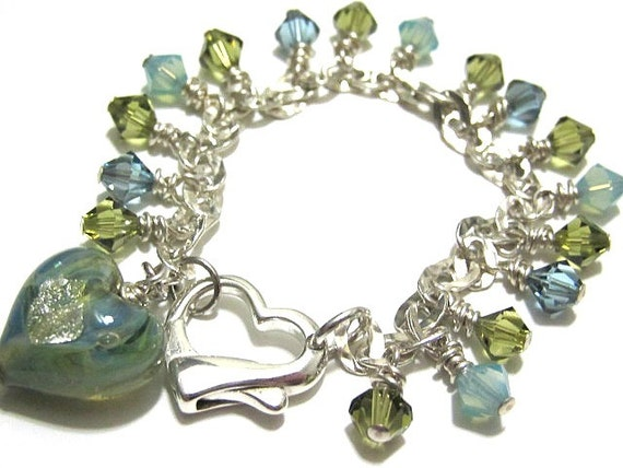 Sterling Silver Bracelet Hammered Link Green Blue Pacific Opal Swarovski Crystals Ocean Inspired Jewelry