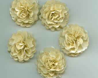 Champagne Mini Carnation Paper Flowers Embellishments