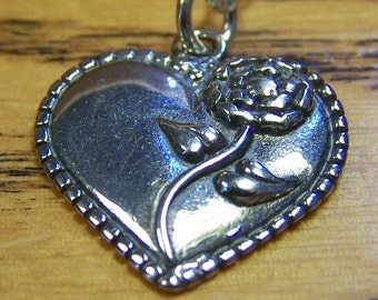 SALE - Silver Heart Rose Necklace, Sterling Silver Pendant, Silver Charms, Bridesmaids, Wedding, Anniversary, Mother's Day, Friendship