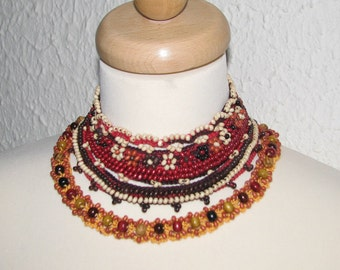 Jewelry / Necklaces  Beadwork Free form  crochet necklace choker