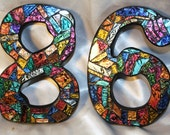 "8"" Tall - CUSTOM MOSAIC House Numbers - Multi-Colored Van Gogh Glass or Your Color Choice - Order 8"" Size Numbers From This Listing - OOAK"