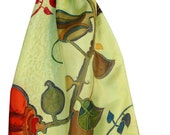 Modern Botanic Silk Scarf Hand Painted. Abstract Floral Art. Designer Scarf. Gift For Her. Wearable Art. French Silk Dyes. Natural Silk.